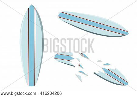 Vector Illustration Of A Colored Surfboard. Surfboard Crashed. Marine Extreme Sport. Isolated Illust