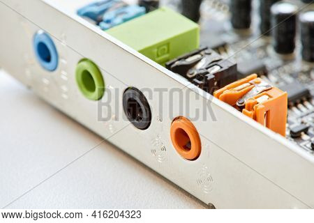 Multi-colored Analog Sound Card Outputs And Inputs. Close-up, Selective Focus