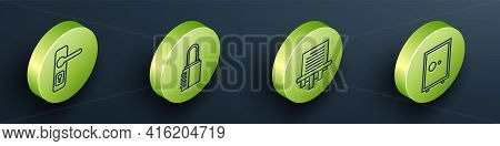 Set Isometric Door Handle, Safe Combination Lock, Paper Shredder And Safe Icon. Vector