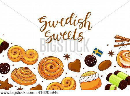 Background With Swedish Sweets And Calligraphy. Vector Illustration.
