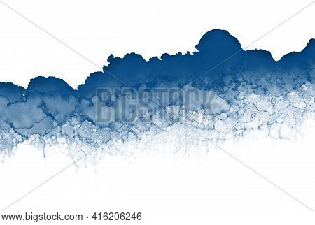 Abstract Painting Isolated On White, Alcohol Ink Technique. Dark Blue Stains Texture Background. Web