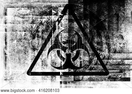 Biohazard Sign On Old Grungy Wall. Grunge Biohazard Symbol. Drawing On Old Grungy Surface. Dirty Scr