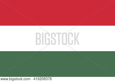 Official Flag Of Hungary. Hungarian Country Flag With The Correct Proportions And Colors. Three Equa