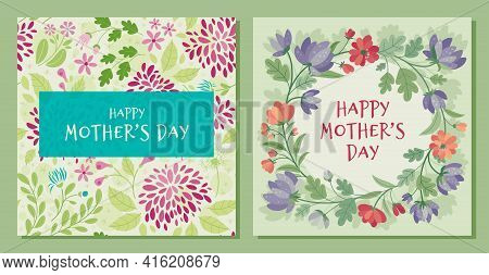 Mother's Day - Set Of Cards With Summer Flowers In Flat Style. Vector Frame, Poster, Banner, Templat