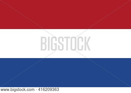 Official Netherlands Flag. Flag Of The Kingdom Of The Netherlands With Correct Proportions And Color
