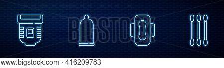 Set Line Sanitary Napkin, Epilator, Condom And Cotton Swab For Ears. Glowing Neon Icon On Brick Wall