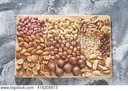 Different Nuts. Home Kitchen. Protein And Fat Food. Mix Seeds. Raw Whole Snack Or Munchies. Natural