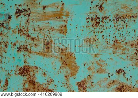 Textured Metal Sheet With Peeling Blue, Turquoise Paint, Metal Corrosion