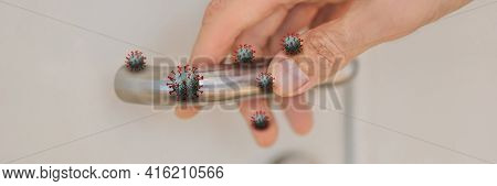 Banner, Long Format Viruses On The Doorknob. Coronovirus Covid 19. Human Life Through Which Germs An