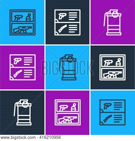 Set Line Hunting Shop Weapon, Hand Smoke Grenade And Weapon Catalog Icon. Vector