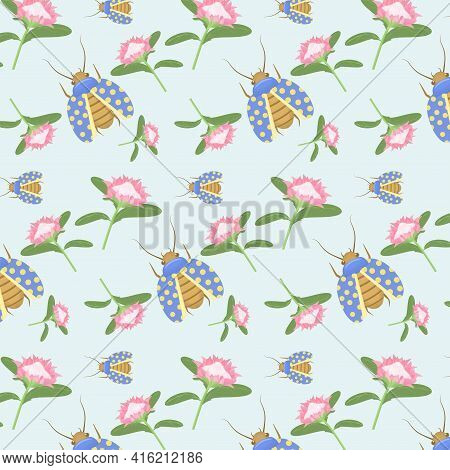 Summer-spring Vector Pattern With Protea Flowers And Polka-dot Beetles On A Light Blue Background