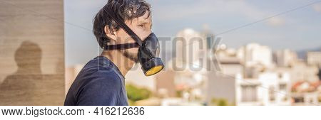 Banner, Long Format Close Up Portrait Of Young Man In Respirator Mask Against The Background Of The