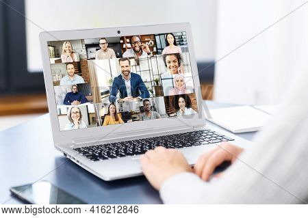 Diverse Multiracial People Involved Video Meeting, Video Conference. Computer App For Video Connecti