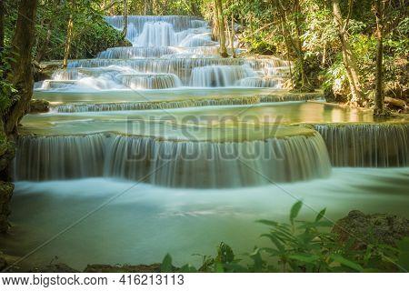 Huay Mae Khamin Waterfall In Kanchanaburi, Thailand South East Asia Jungle Landscape With Amazing Tu