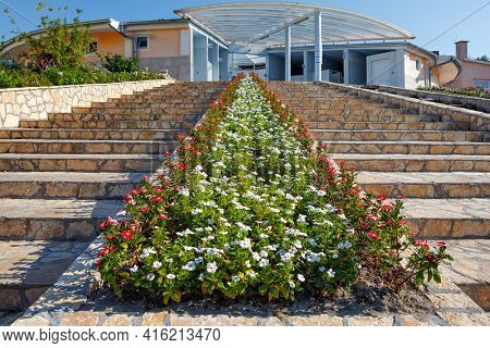 Staircase with flowers architecture in a city park