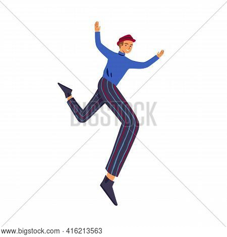 Happy Man Jumping Or Flying For Fun And Joy. Active Carefree Guy With Feeling Of Freedom And Careles