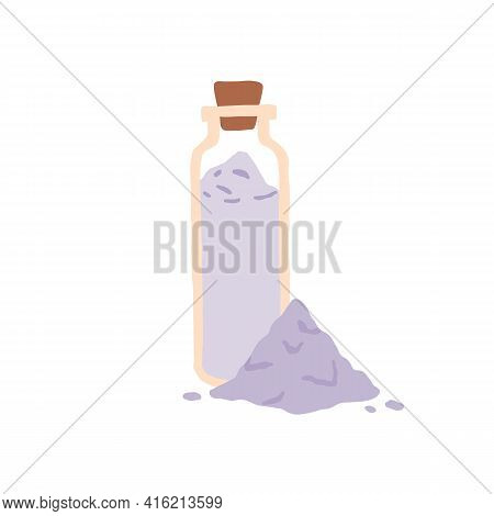 Glass Bottle Full Of Aromatic Bath Salt And Heap Of Crystal Powder. Organic Cosmetic Product With La