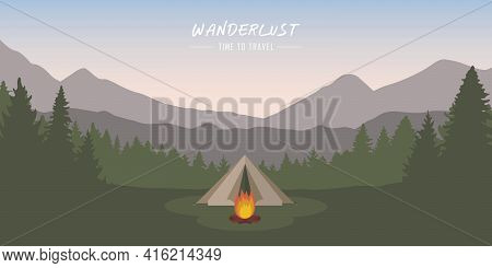Wanderlust Camping Adventure Tent At Green Mountain And Forest Landscape
