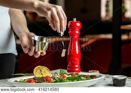 Salad With Chicken Liver. Fresh Vegetable Salad. Meat Salad. Banner, Menu Recipe Place For Text, Top