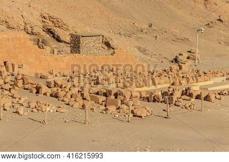 Archaeological Site Near The Temple Of Hatshepsut In Deir El-bahri. Excavations Of Ancient Egypt On