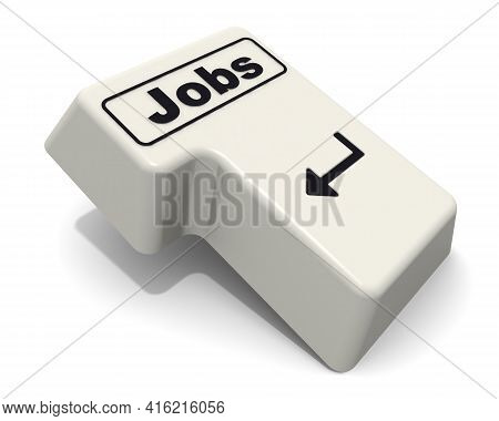 Enter Key With Jobs Word. Computer Enter Key With Jobs Word On White Background. 3d Illustration