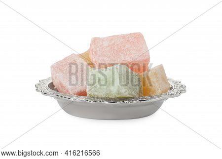Turkish Delight Dessert In Plate On White Background