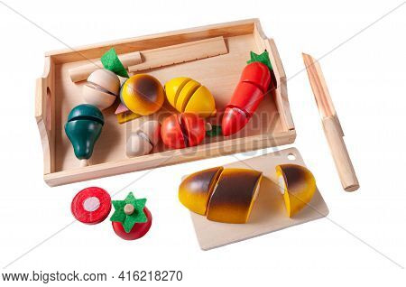 We Cut Vegetables. Tray With Vegetables And Two Knives Made Of Wood Educational Toy Montessori. Whit