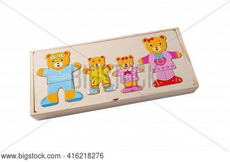 Puzzle Funny Bears Made Of Wood. In The Box. Educational Toy Montessori. White Background. Close-up.