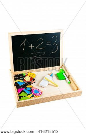 Slate Board For Drawing. With Magnetic Figures. The Material Is Wood. With Educational Toy Montessor