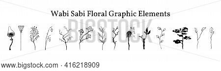 Set Not Perfect Black Graphic Simple Plants Elements For Your Design. Silhouettes Branches, Ginkgo B