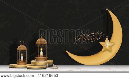 Islamic Podium With Yellow Gold Crescent Moon, Traditional Islamic Lantern, Candles And Eid Mubarak