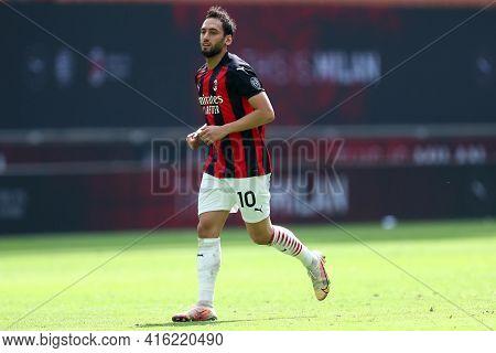 Milano, Italy. 03th April 2021 . Hakan Calhanoglu Of Ac Milan  During The Serie A Match Between Ac M