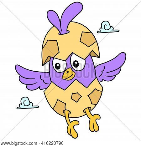 The Newly Hatched Chicks Fly Around The Sky, Doodle Draw Kawaii. Vector Illustration Art