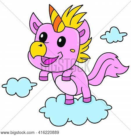 A Cute Unicorn Pony, Doodle Draw Kawaii. Vector Illustration Art