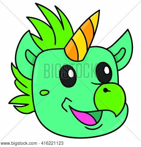 Beaked Animal Head Emoticon With Happy Smiling Face, Character Cute Doodle Draw. Vector Illustration