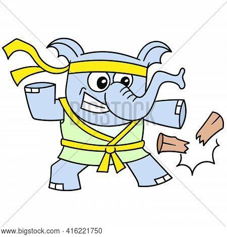 Elephant Beast Is Practicing Karate Breaking Wood, Doodle Draw Kawaii. Vector Illustration Art