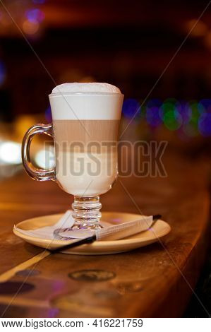 Glass Of Hot Latte Coffee On The Bar. Close-up, Selective Focus