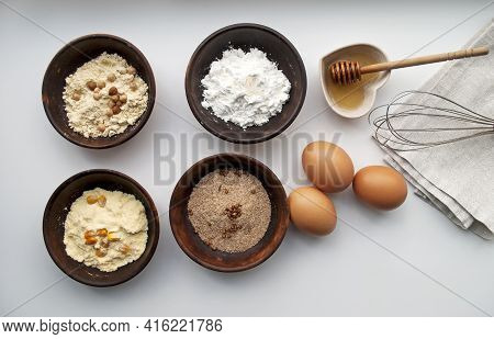 Ingredients For Making Gluten-free Dough. Four Types Of Flour: Corn, Chickpea, Rice, Buckwheat, Eggs