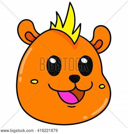 Hedgehog Animal Head Emoticon Happy Smiling, Character Cute Doodle Draw. Vector Illustration