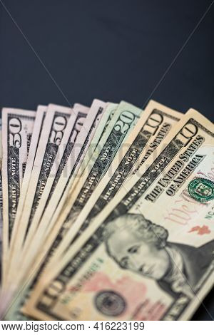 Selective Focus On Detail Of Usd Banknotes. Detail Of United States Currency Usd Banknotes. World Mo
