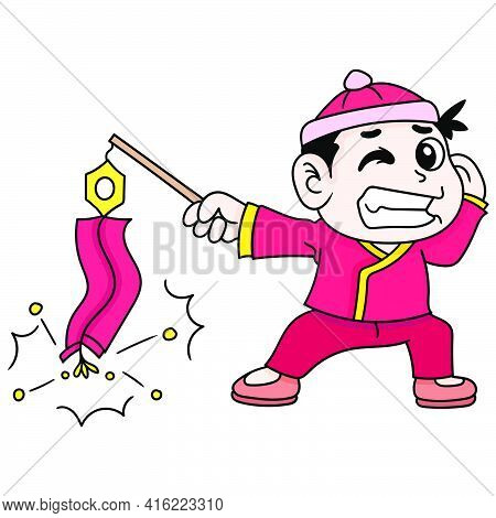 A Boy Playing Firecrackers Celebrating Chinese New Year, Doodle Draw Kawaii. Vector Illustration Art