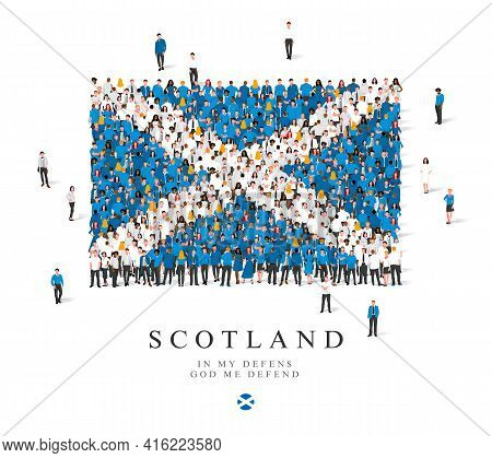A Large Group Of People Are Standing In Blue And White Robes, Symbolizing The Flag Of Scotland. Vect