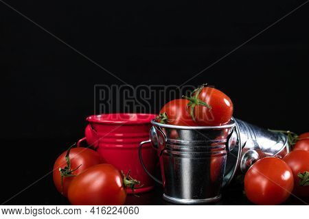 Selective Focus On Composition With Mini Decorative Bucket And Tomatoes. Small Metal Bucket With Che