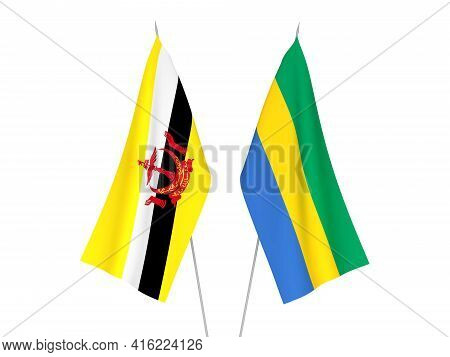 National Fabric Flags Of Gabon And Brunei Isolated On White Background. 3d Rendering Illustration.