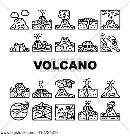 Volcano Lava Eruption Collection Icons Set Vector. Volcano Under Water And Stratovolcano Mountain, V