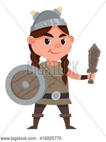 Viking Child Holding Toy Sword And Shield. Smiling Girl In Cartoon Style.