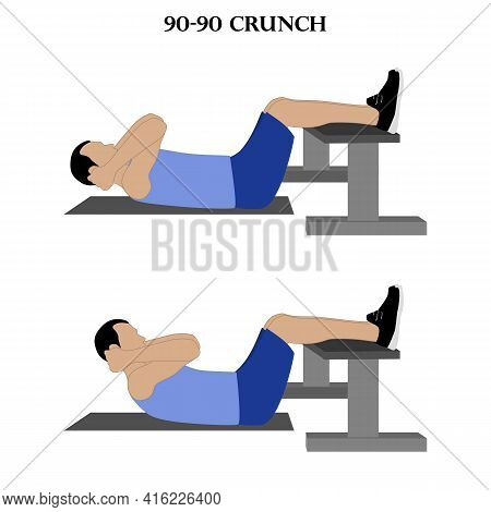 90-90 Crunch Exercise Strength Training Workout Vector Illustration