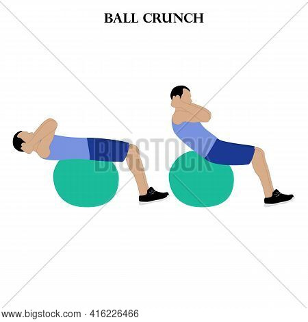Ball Crunch Exercise Strength Workout Vector Illustration