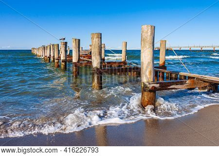 Groyne On The Baltic Sea Coast In Zingst, Germany.