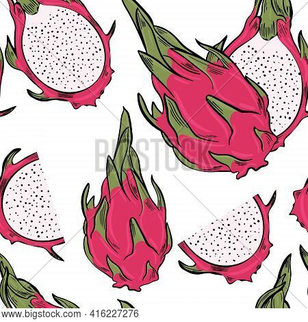 Dragon Fruit Sample. Bright Colorful Exotic Pitahaya, Continuous Repeating Pattern. Halves And Whole